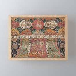 Persian Medallion Rug V // 16th Century Distressed Red Green Blue Flowery Colorful Ornate Pattern Framed Mini Art Print