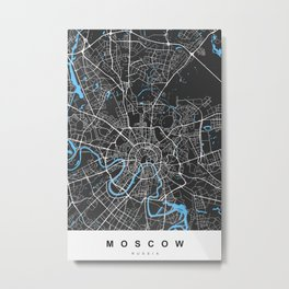 Moscow Map | Black & Blue | More Colors, Review My Collections Metal Print