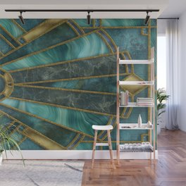 Elegant Stained Glass Art Deco Window With Marble And Gemstone Wall Mural