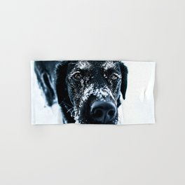 Snow Dog // Cross Country Skiing Black and White Animal Photography Winter Puppy Ice Fur Hand & Bath Towel