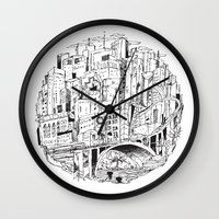 houston Wall Clocks featuring Downtown Houston by SethMicLap