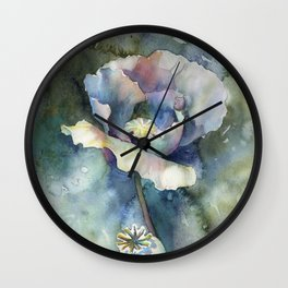 Poppy painting.  Colorful watercolor painting of poppy Wall Clock