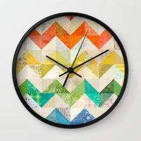 quilt Wall Clocks featuring Chevron Rainbow Quilt by Rachel Caldwell