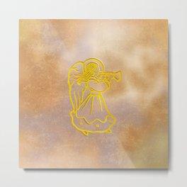 Golden Angel with trumpet Metal Print