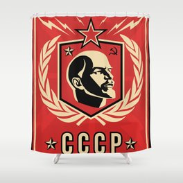 Emblem Lenin Face & CCCP Shower Curtain