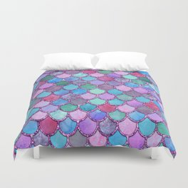 Colorful Pink Glitter Mermaid Scales Duvet Cover