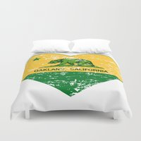 oakland Duvet Covers featuring Green and Yellow Oakland California Heart by NorCal