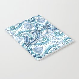 Lily, Leaf & Triangle Pattern – blues Notebook