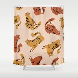 Yellow Orange Leopard Spots Sensual Chubby Butt Kitty Cats Pattern Shower Curtain