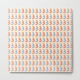 Cute Number Three Pattern Metal Print