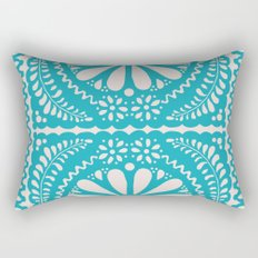 Fiesta de Flores Turquoise Rectangular Pillow