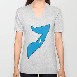 Somalia Map with Somali Flag Unisex V-Neck