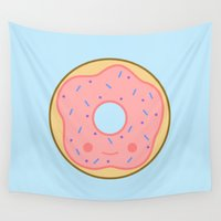 doughnut Wall Tapestries featuring Yummy pink kawaii doughnut by Holly
