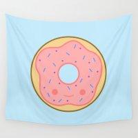 doughnut Wall Tapestries featuring Yummy pink kawaii doughnut by peppermintpopuk