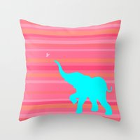 baby elephant Throw Pillows featuring Baby Elephant by StudioBlueRoom