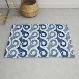 Retro Tropical Beach Waves - Indigo Blue Woodblock Rug