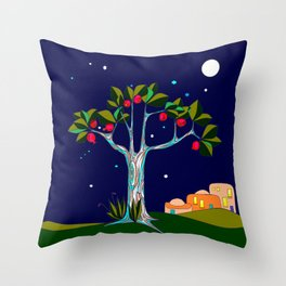 A Pomegranate Tree in Israel at Night, Harvest Throw Pillow