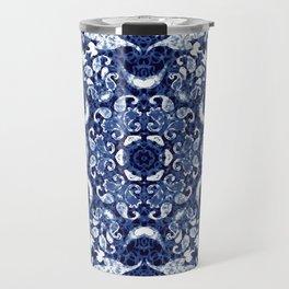 Boho Blue Medallion Travel Mug