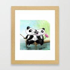 Panda Lovers Framed Art Print