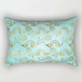 Mermaid Ocean Whale Friends - Teal And Gold Pattern Rectangular Pillow