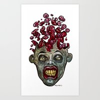 Heads of the Living Dead  Zombies: Go Boom Zombie Art Print