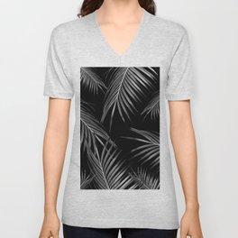 Silver Gray Black Palm Leaves Dream #1 #tropical #decor #art #society6 Unisex V-Neck