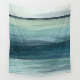 Seafoam Green Mint Navy Blue Abstract Ocean Art Painting Wall Tapestry