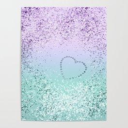 Sparkling MERMAID Girls Glitter Heart #1 #decor #art #society6 Poster