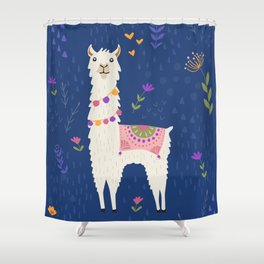 Llama on Blue Shower Curtain