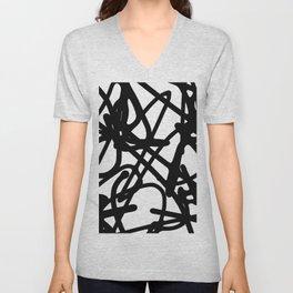 Meaningless - Black and white expressive painting Unisex V-Neck
