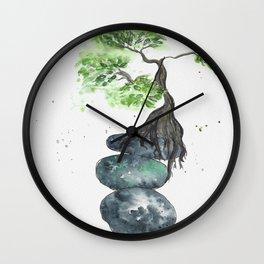 Zen watercolor with balancing Rocks and tree Wall Clock