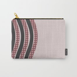 Pastel Pink Textured Black  Waves Carry-All Pouch
