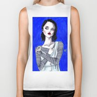 sky ferreira Biker Tanks featuring Sky ferreira / Blue period  by Lucas David