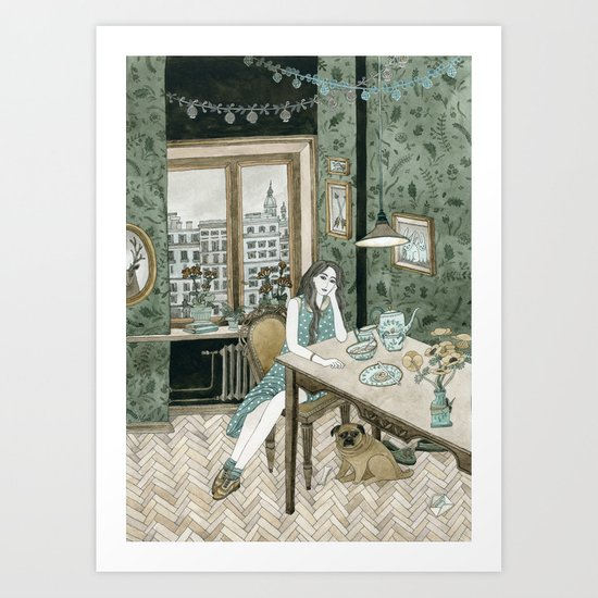 At home with a pug Art Print