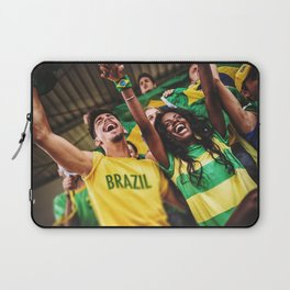 brazilian supporters cheering at the stadium for the world cup Laptop Sleeve