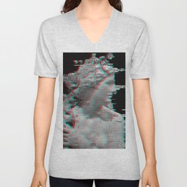 Charcoal Glitch Queen Unisex V-Neck