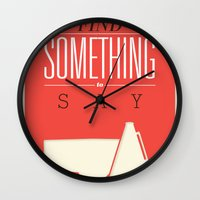 literary Wall Clocks featuring Literary Quote Poster — Title Poster by Evan Beltran