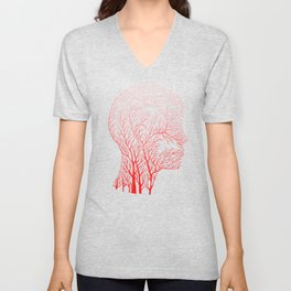 Head Profile Branches - Red Unisex V-Neck