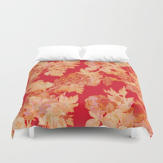 gold and red floral Duvet Cover