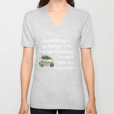 Vintage Christmas car with tree green Unisex V-Neck