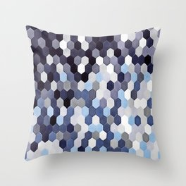 Honeycomb Pattern In Blue Tones Throw Pillow