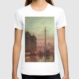 Trafalgar Square, Nelson's Column, London, England, Twilight by John Atkinson Grimshaw T-shirt