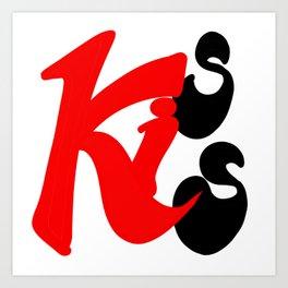 Kiss Calligraphy Art Hand writing Digital Art Art Print