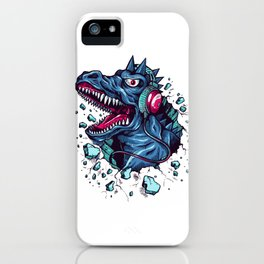 Dino with Headphones BLUE Orient iPhone Case