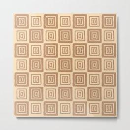 Mid Century Modern Geometric Checker 821 Beige on Beige Metal Print