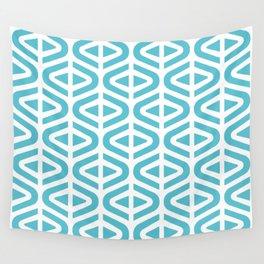 Mid Century Modern Split Triangle Pattern Light Blue Wall Tapestry