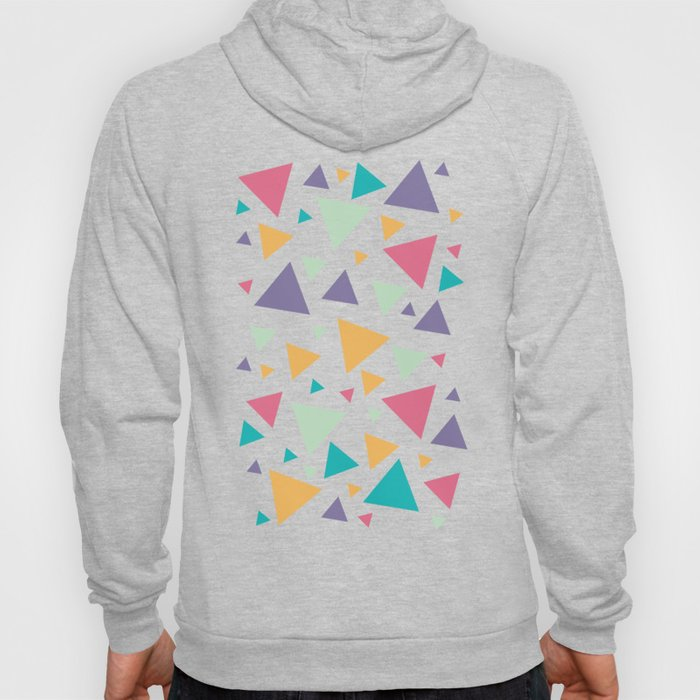 Memphis Milano style pattern with colorful triangles, multicolor triangle pattern print Hoody
