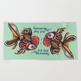 Just Keep Swimming Mint Goldfish Beach Towel