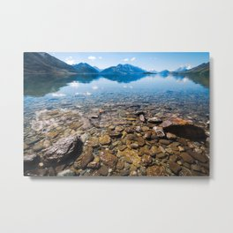 Snow-capped mountains view in summer from the rocky shore of lake Wakatipu. Metal Print