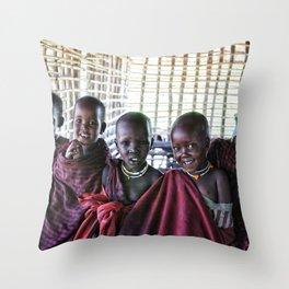 4239 Children Maasai Ngorongoro Tanzania Throw Pillow